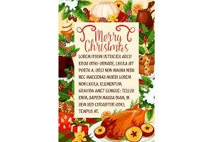 Merry Christmas vector dinner cuisine poster