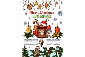 Christmas vector sketch holiday season greeting
