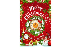 Christmas or New Year midnight clock greeting card