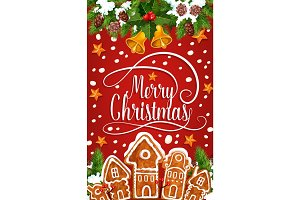 Christmas cookie greeting card of New Year holiday