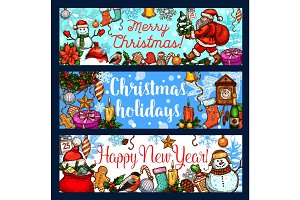 Christmas holiday and New Year celebration banner