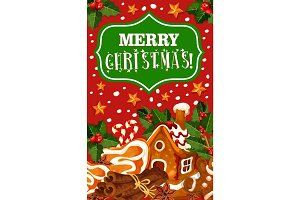 Christmas cookie greeting card of New Year dessert
