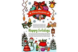 Merry Christmas wish vector greeting card sketch