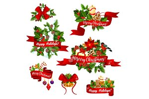 Christmas vector greeting ribbons decoration icons