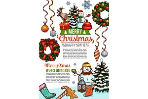 Merry Christmas sketch wish vector greeting card