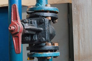 Valves and piping on industrial plant