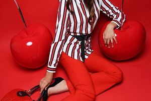 Fashion woman, red background