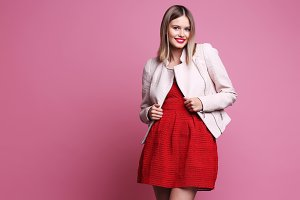 Fashion woman, pink background
