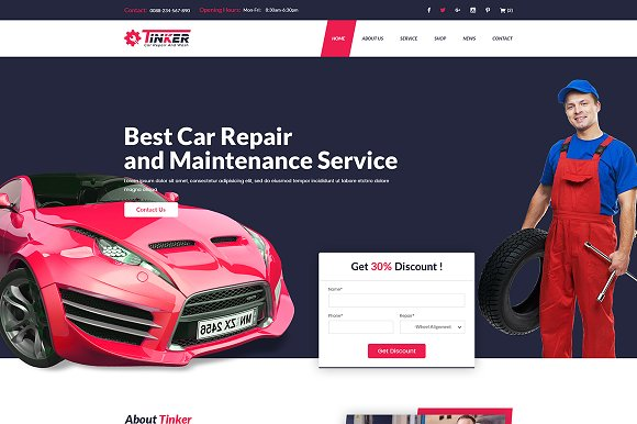 Tinker – Car Repair  WordPress Theme
