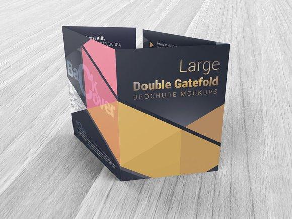 Download Double Gatefold Brochure Mockups