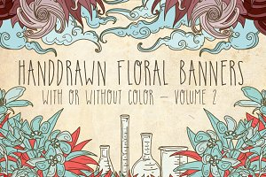 Handdrawn Floral Banners Volume 2