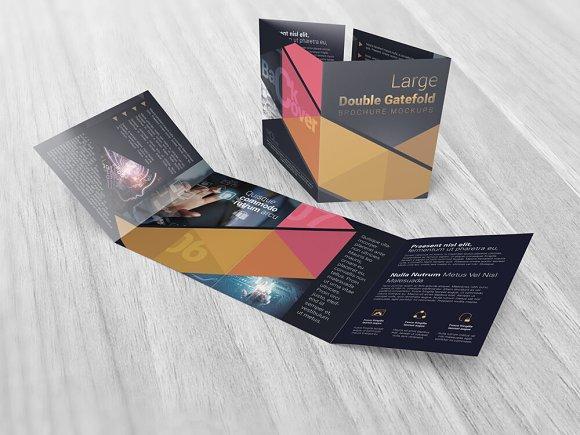 Double Gatefold Brochure Mockups