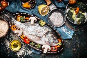 Dorado fish in backing dish