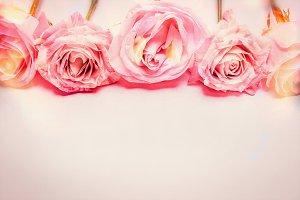 Pink rose floral border