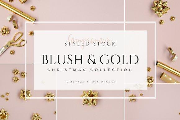 Blush & Gold Christmas Stock Photos