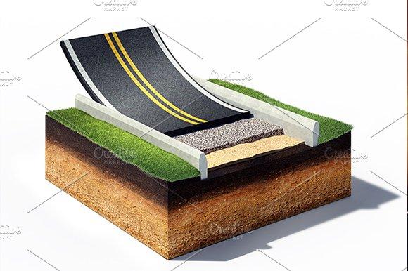 Cross section of asphalt road paving graphics creative
