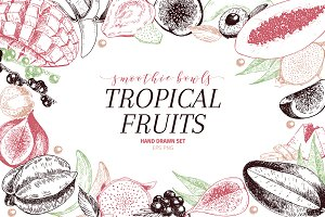 Tropical Fruits hand drawn set