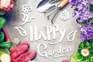 Happy Garden with tolls and flowers