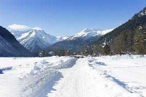 Winter panorama of the mountain.