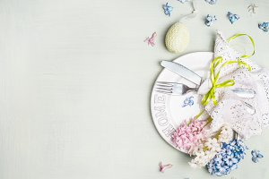 Easter table setting in pastel color