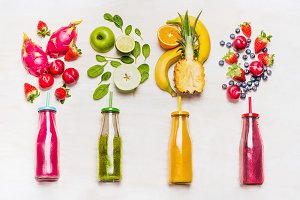 Various colorful smoothies bottles