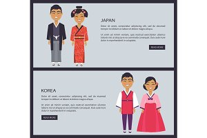 Japan and Korea Nationalities Vector Illustration