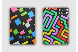 Set of Two Cover Patterns on Vector Illustration