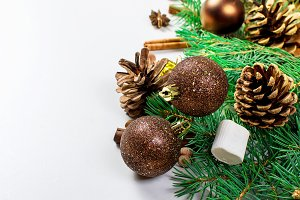 Christmas fir, ball on white