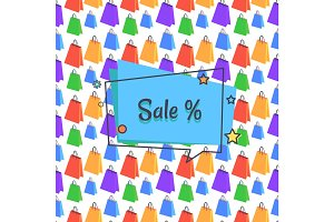 Sale Banner with Bags Packages Seamless Vector