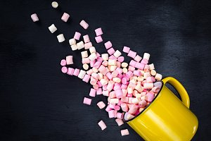 mug with multicolored marshmallow