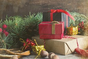 Christmas red gift box, ball and fir