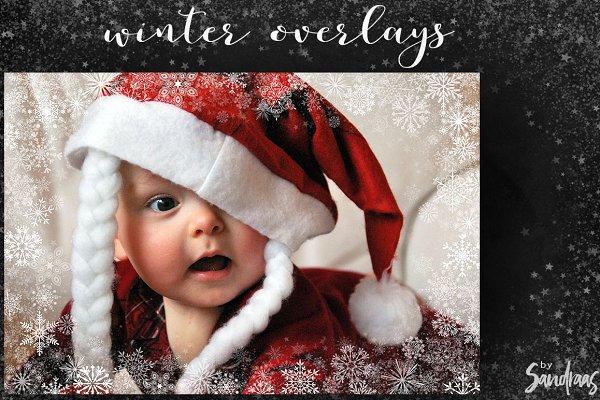 Snow overlays, photo frame overlays