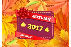 Autumn Discount 2017 Gift Card Design Maple Leaves