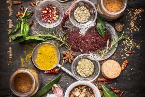 Colorful cooking spices and flavors