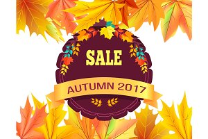 Sale Autumn 2017 Special Offer Promo Poster Leaves