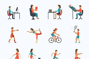 Physical activity icons set