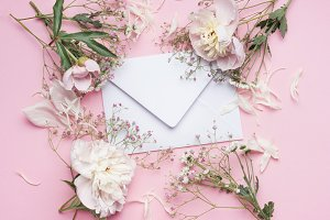 Envelop with pink flowers, mock up