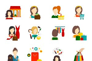 Woman shopping icon set