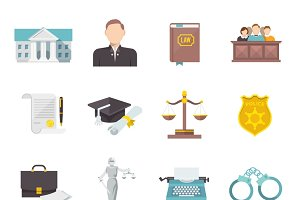 Law and judgment icon set