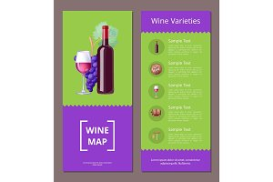 Wine Varieties Map Vector Illustration Icons Set