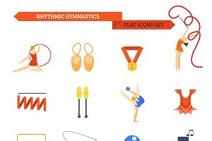 Rhythmic gymnastics icon set