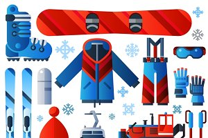 Flat color skiing icons set
