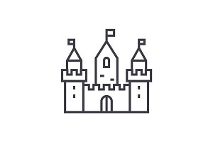 kingdom castle wtih three towers vector line icon, sign, illustration on background, editable strokes
