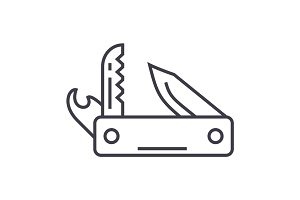 knife army, multipurpose tool,swiss folding knife vector line icon, sign, illustration on background, editable strokes