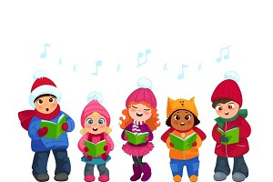 Cute kids going Christmas caroling