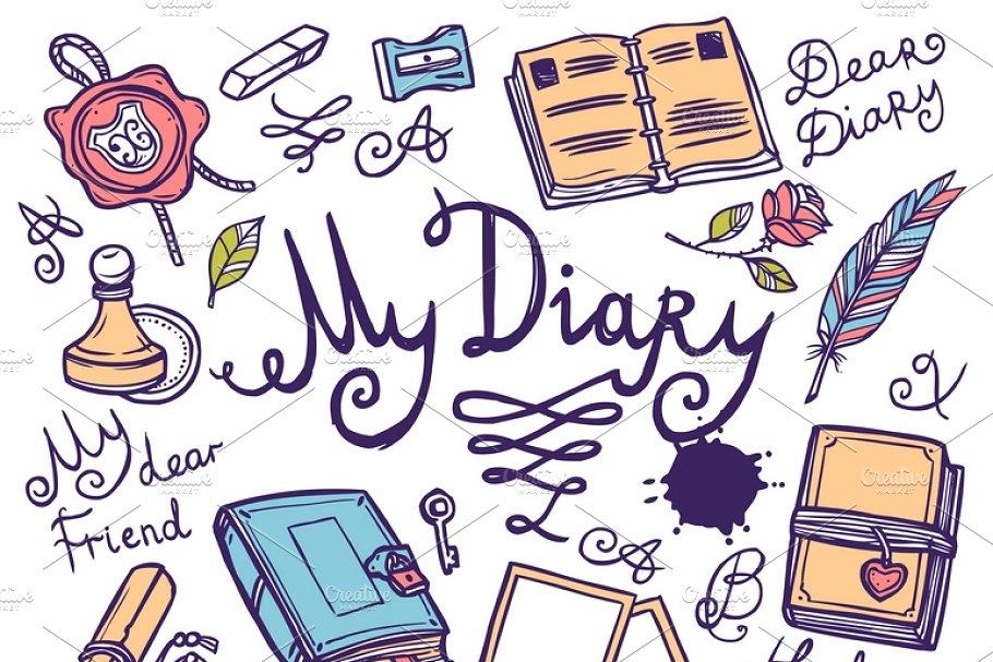 Diary writing instrument set | Custom-Designed Illustrations ...