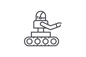 manufacturing robot vector line icon, sign, illustration on background, editable strokes