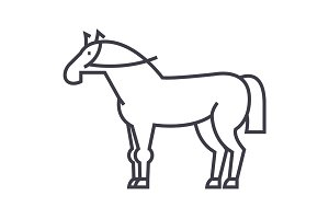 horse sign vector line icon, sign, illustration on background, editable strokes