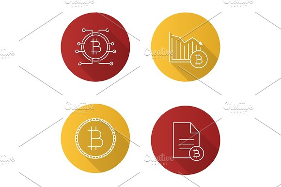 Bitcoin Flat Linear Long Shadow Icons Set