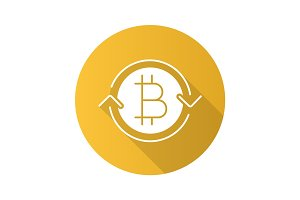 Bitcoin exchange flat design long shadow glyph icon